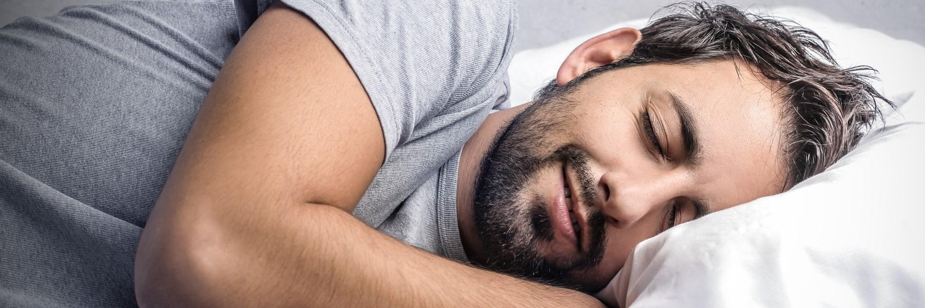 Man who has problems with snoring